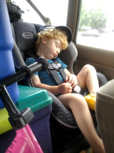 Owen sleeping in carseat