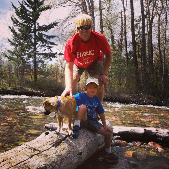 Mark, Owen and Rosie at Rattlesnake Creek shortly after returning to Montana.