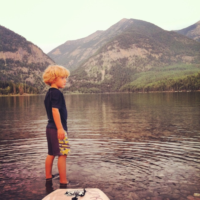 Owen at Holland Lake with his boogie board.