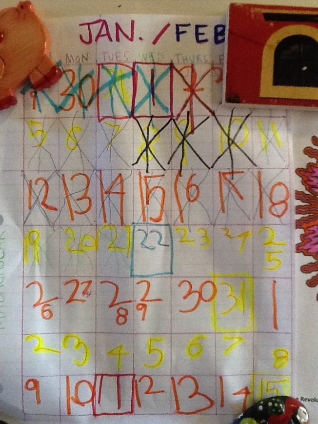 Owen's countdown calendar. Lots of important dates: my sister's birthday, Mark's birthday, Owen's birthday and my due date.