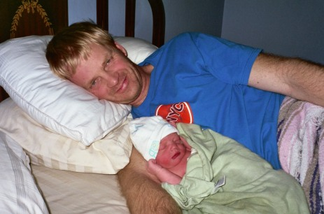 Mark and Owen in our bed shortly after his birth. 2/11/2008